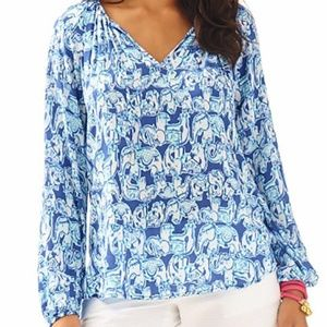 Lilly Pulitzer Willa Blouse Gettin Trunky Elephant